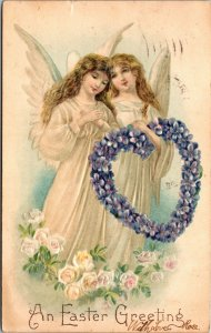 EASTER GREETING - VINTAGE POSTCARD - Holiday - PC ANGELS - EMBOSSED POSTED