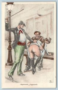 Postcard French Risque Spanking Bare Butt Woman Cartoon Striking Arguments Q16