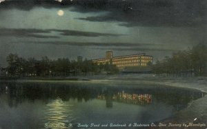 NASHUA, NH,1910; Sandy Pond & Estabrook & Anderson Co. Shoe Factory by Moonlight