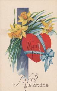 For my Valentine, I Want You on Red Heart, Yellow Flowers, 00-10s