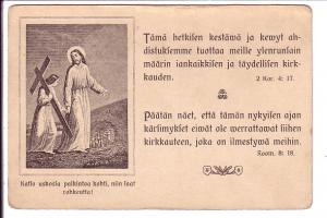 Jesus with Cross, Bible Quotes in Finnish, Finland