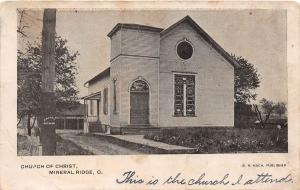 E43/ Mineral Ridge Ohio Postcard c1907 Church of Christ Building Trumbull County