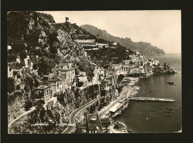 Postmarked 1950? Amalfi Italy Amalfi Panorama Real Photo Postcard