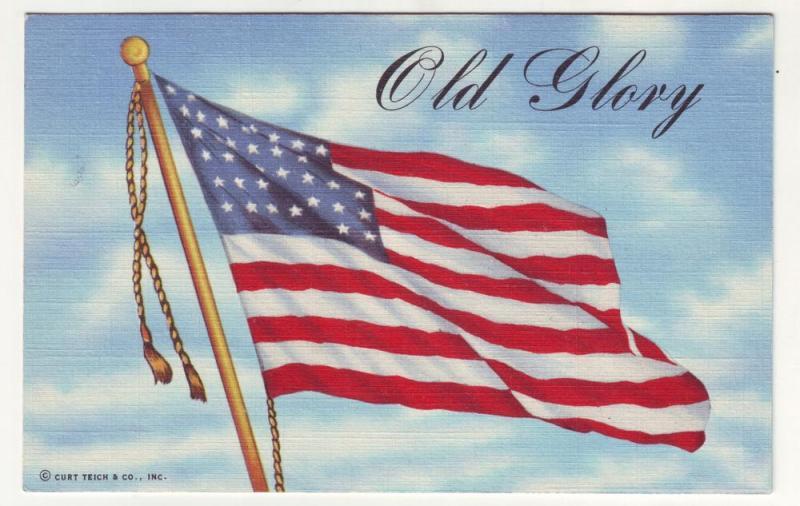 P82 JLs linen postcard usa flag old glory curt teich card