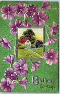 Vintage BIRTHDAY Greetings Postcard Country Scene / Purple Flowers 1910 Cancel