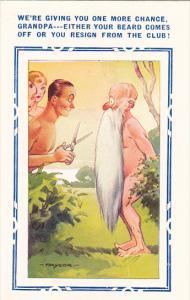 Bamforth General Comic Man Cutting Grandpas Beard At Nudist Colony