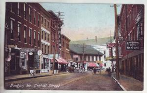 P826 ca1912 old horse wagons signs etc bangor maine central street scene