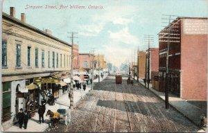 Simpson Street Fort William Ontario ON c1909 Postcard F49