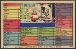 Busy Person's Correspondence Card,Hillbillys Postcard