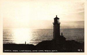 RPPC NORTH HEAD LIGHTHOUSE Long Beach, WA 1948 Vintage Photo Postcard