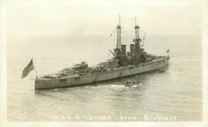 1920s USS Arkansas Airplane RPPC Photo Postcard Navy Military 3345