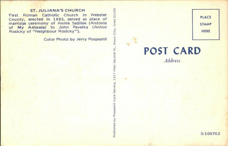 St. Juliana's Church Webster County CA Vintage Postcard Standard View Card