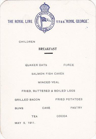 Canadian Northern Steamship S S Royal George Children Breakfast Menu May 5, 1911