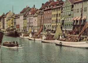 Copenhagen, NYHAVN, row of old picturesque houses near King's Square, Postcard