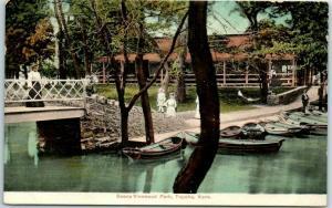 Topeka, KS Postcard Scene VINEWOOD PARK Boats Amusement Park 1910s Unused