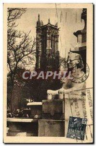 Postcard Old Paris Tower Saint Jacques taking place fountain du Chatelet
