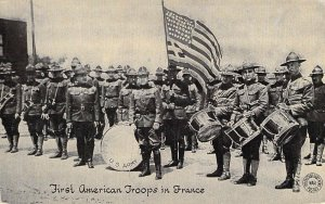 WW1 Kavanaugh Publ,  First American Troops in France,  Yanks, AEF,  Old Postcard