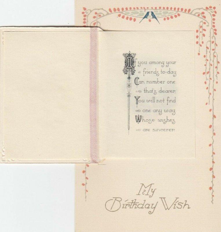 WINSCH ; Birthday Booklet Postcard , White Flowers , 00-10s