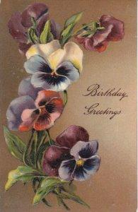 BIRTHDAY; Greetings, Pansies, PU-1912