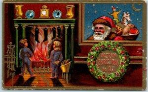 1910s Christmas SANTA CLAUS Postcard Peeking Thru Window Kids Fireplace UNUSED