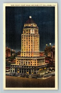 Miami FL-Florida, Dade County Court House and City Hall at Night, Linen Postcard