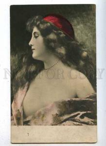 185602 Semi-Nude BELLE Woman by ASTI Vintage Russian tinted PC