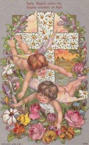 EASTER ;1909 ; 2 angels & a cross