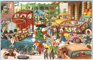 Anthropomorphic Dressed DOGS STREET Traffic Cars ~ Caricature Schurmann Postcard