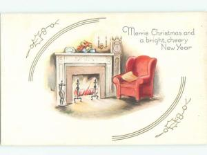 Pre-Linen Christmas ARMCHAIR BESIDE THE FIREPLACE AB5507