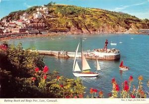 Bathing Beach and Banjo Pier Looe Cornwall Boats