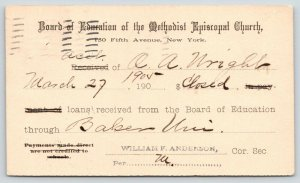 New York City~Board of Ed Methodist Episcopal Church~Baldwin KS Loan Closed~1905