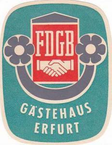 GERMANY ERFURT GAESTEHAUS ERFURT VINTAGE LUGGAGE LABEL