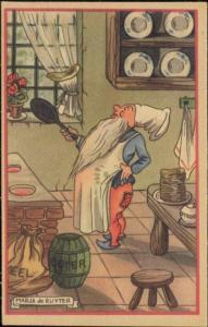 artist signed MARJA DE RUYTER Dwarf Gnome Cook Cooking (1940s) (3)