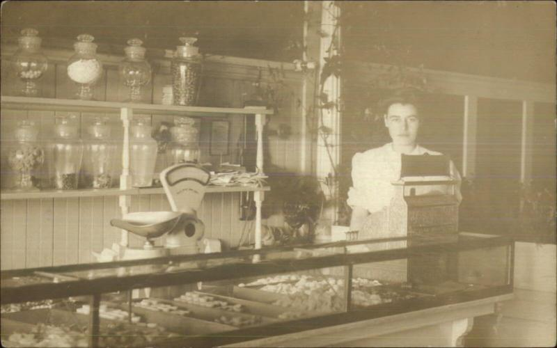 Candy Store Interior Woman Cash Register Candy Jars Scale Telephone c1910 RPPC