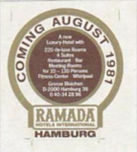 GERMANY HAMBURG RAMADA HOTEL VINTAGE LAUGGAGE LABEL