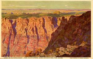 AZ - Grand Canyon National Park. View from The Indian Watch Tower, Sunset on ...