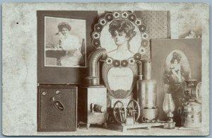 PHOTOMONTAGE CAMERA GIRLS PHONE ANTIQUE REAL PHOTO PC RPPC J.F.LEATHERMAN OH