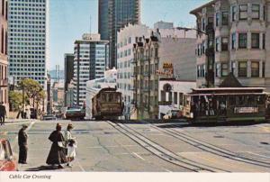 California San Francisco Cable Car Crossing At California and Powell Streets