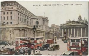 Bank of England and Royal Exchange, London, United Kingdom, unused Postcard