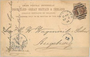 Entier Postal Stationery Postal Great Britain Great Britain 1891 to Augsburg