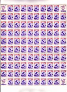 Full Sheet, 100 Christmas Seal Stamps, 1938