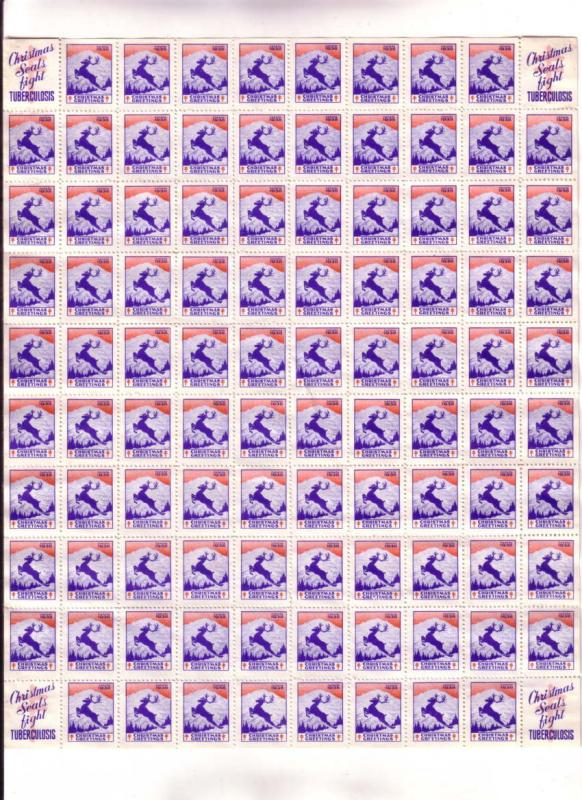 Full Sheet, 100 Christmas Seal Stamps, 1938