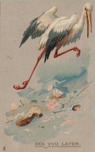 TUCK Stork Series 2768; PU-1908; Stork taking Flight, See You Later