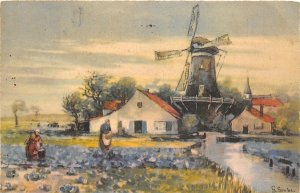 Lot 61 g grobe postcard artist signed wind mill painting netherlands types