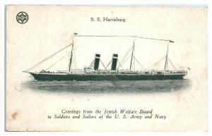 WWI SS Harrisburg Greetings from Jewish Welfare Board Judaica Postcard *5E2