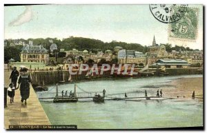 Old Postcard Trouville Tray at low tide