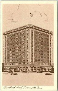 Davenport, Iowa Postcard HOTEL BLACKHAWK Artist's Street View / 1953 Cancel