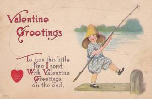 Valentine Greetings, Girl holding fishing stick, red heart on hook , I Love ...