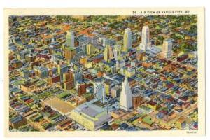 Air View of Downtown Kansas City Missouri MO, Linen
