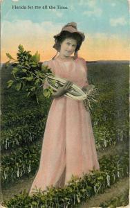 Artist impression 1915 Farm Agriculture Woman Florida postcard 9835